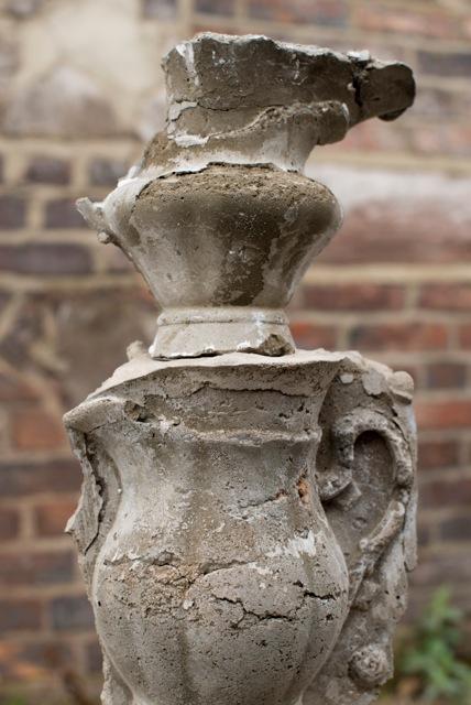 Concrete cast in abandoned plaster moulds.